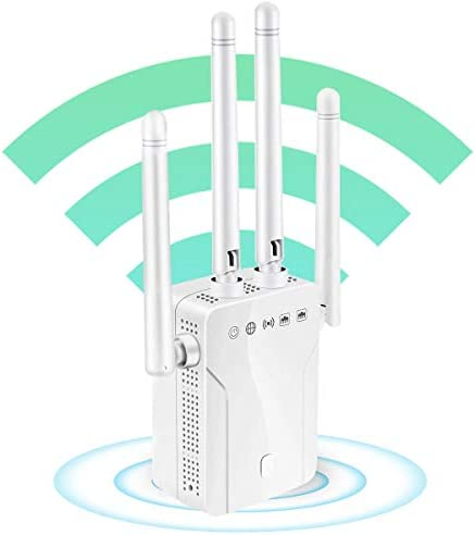 WiFi Extender, WiFi Booster Repeater, Cover Up to 2500 squareft and 30 Devices, 1200Mbps Wireless Repeater, 2 Ethernet Port & 4 High-Gain Antennas