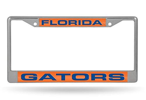 6 x 12.25 Rico Industries NCAA Florida Gators Laser Cut Inlaid Standard License Plate Frame Chrome