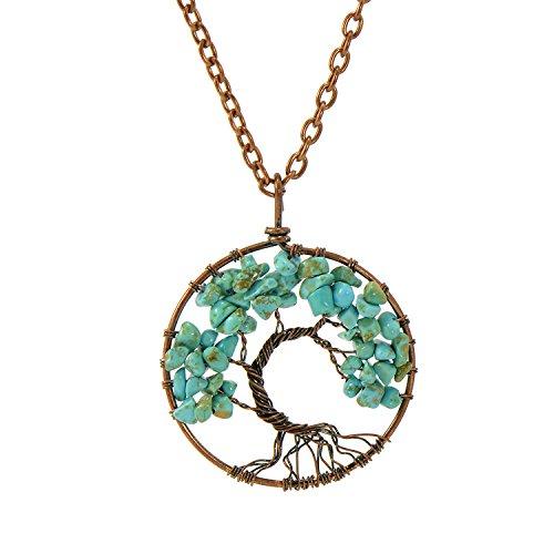 (Paialco Wired Chakra Gemstone Turquoise Life of Tree Pendant Necklace )