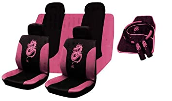 13PC UNIVERSAL FULL CAR SEAT COVER SET DRAGON STYLE PINK WASHABLE INCLUDES MAT STEERING