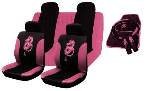 13PC UNIVERSAL FULL CAR SEAT COVER SET DRAGON STYLE PINK WASHABLE INCLUDES MAT STEERING WHEEL BELTS Amazoncouk Car Motorbike