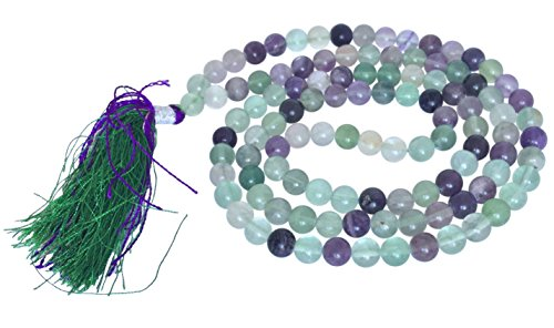 - 'Serenity and Compassion' Artisan Crafted Genuine Gemstone Jaap Mala 108 Beads - Handmade Ethically Sourced from India - Sent in BellaMira Gift Box (Multi Flourite)