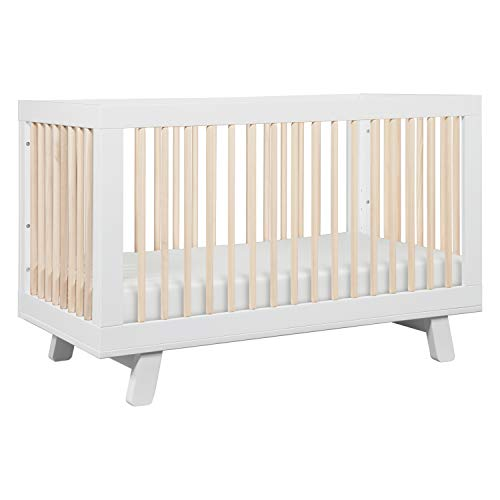 Babyletto Hudson 3-in-1 Convertible Crib with Toddler Bed Conversion Kit, White / Washed Natural