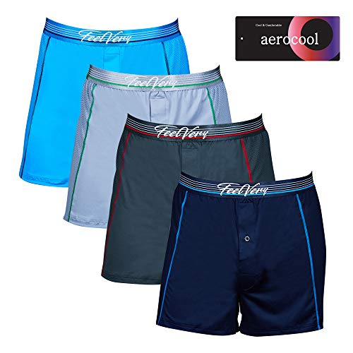 Feelvery Men's Cool Mesh Air Ventilation Active Sporty Performance Knit Boxers - 4 Pack (Large)
