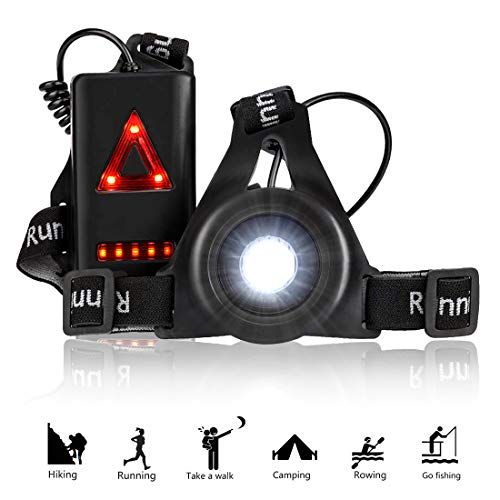 RODH Running Jogging Chest Led Running Lights Night Light Walking Safety Back Warning for Runners Joggers Walking Biking Hiking Super Bright with USB Rechargeable Battery Adjustable Strap