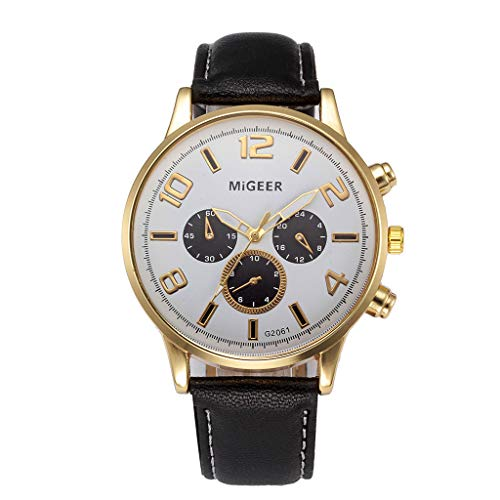 Men's Watches on Clearance,Leather Strap Quartz Casual Watches Classic Wrist Watch (Black)