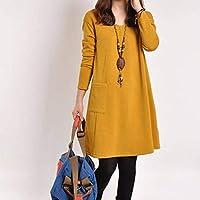 Florencinid Otoño Estilo Coreano Vestido Suelto por Encima de la Rodilla Color sólido Cuello en v Vestido de Tocar Fondo con Buena ventilación para Las Mujeres