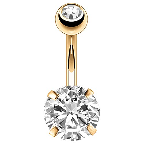 (BodyJ4You Belly Button Ring Large Round CZ Crystal 14G Navel Barbell Goldtone Steel Body Jewelry )