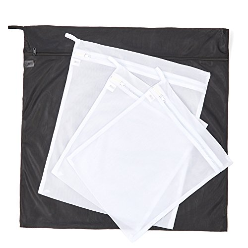 EZOWare Set of 4 Laundry Washing Bags Mesh Durable Zipped Storage Wash Bag for Clothes and Delicates – Black and White ( Small x2, Medium x1, Large x1)