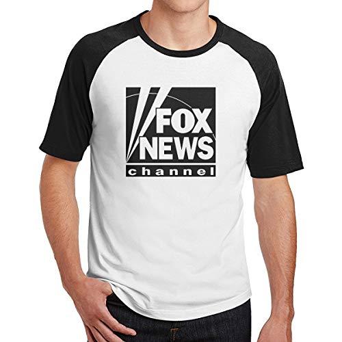 Fox News Channel Logo Black Black Men's Short Sleeve Baseball Shirt Online Blend Solid T Shirts