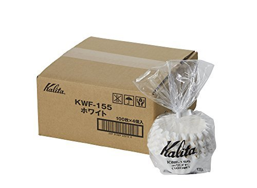 [4set]Kalita New Wave Filter KWF-155 White #22213[Dripper 155 / for 1~2 Persons] 100pcs×4 with an Original Paperclip
