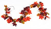 Factory Direct Craft 6 Foot Autumn Artificial Silk Garland with Multiple Fall Colors Maple Leaves