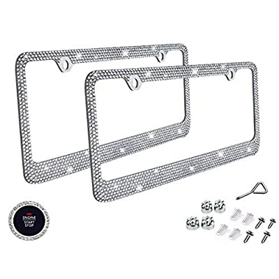 BLVD-LPF OBEY YOUR LUXURY Popular Bling 7 Row Crystal Metal Chrome License Plate Frame with Screw Caps (2, Clear): Automotive