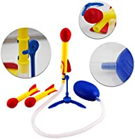 2 Pack deAO Indoor and Outdoor Stomp and Launch Rocket Play Set for Children