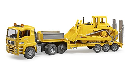 Bruder Man TGA Loader Truck with Cat Bulldozer Vehicles-Toys, Yellow