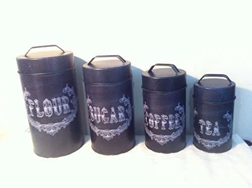 Food Safe Chalk Art Canister Set of 4 Flour Sugar Coffee Tea