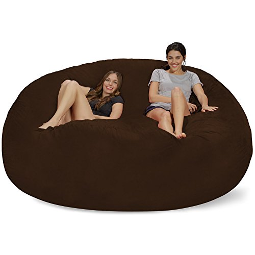 Chill Sack Bean Bag Chair: Giant 8' Memory Foam Furniture Bean Bag - Big Sofa with Soft Micro Fiber Cover - Chocolate