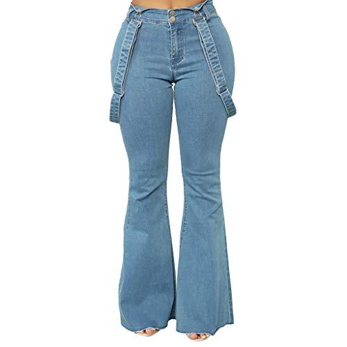 Bsjmlxg Women High Waist Zipper Button Jeans Casual Classic Elegant Trousers Bell-Bottom Pants Jumpsuit Overalls Blue ()