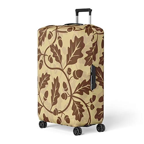 Pinbeam Luggage Cover Brown Pattern Oak Leaf Acorn Green Tree Nut Travel Suitcase Cover Protector Baggage Case Fits 22-24 -