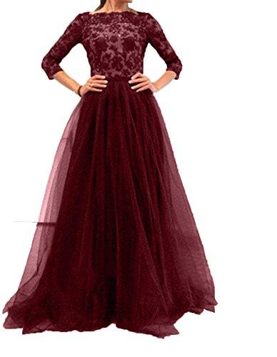 Damen Festlichkleider Charmant Langarm 4 Burgundy Partykleider Tuell Abendkleider Brautmutterkleider 3 Spitze Abschlussballkleider dzqZAxpwz