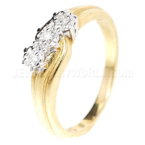 0.10ct Diamond 9ct Gold Crossover Wave Trilogy Ring