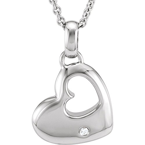 Sterling Silver Diamond Heart Necklace .01ct