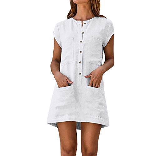 RAINED-Women Summer Mini Dress Casual Linen Solid Color Button Down Short Sleeve Dress Boho Sleeveless Skater Dress White ()