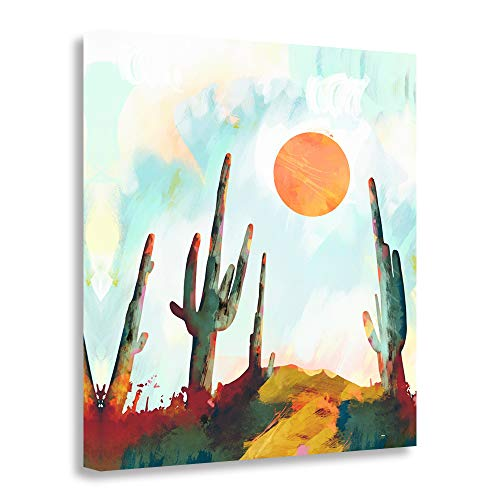 GEVES Desert Sunrise Cactus Painted Canvas Prints Wall Art Paintings Landscape Pictures for Living Room Decoration Framed Ready to Hang ()