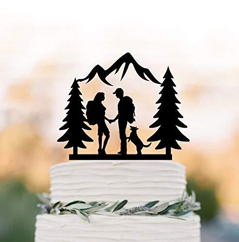 SWQAA Hiking Couple wedding cake topper with dog Backpacking Bride and Groom outdoor wedding Mountain Wedding Cake Topper with trees
