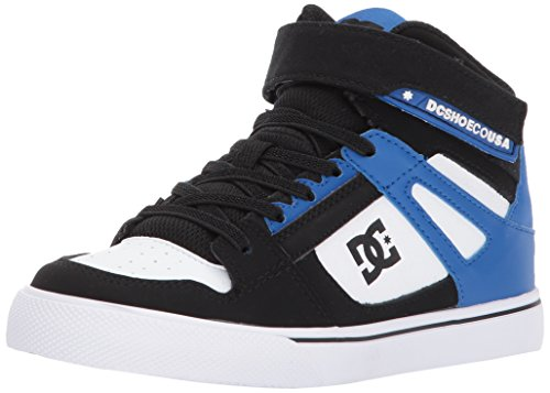 DC Kids Youth Spartan High EV Skate Shoe, Black/White/Blue, 1.5 M US Little Kid (Dc Dyrdek Skate Shoes)