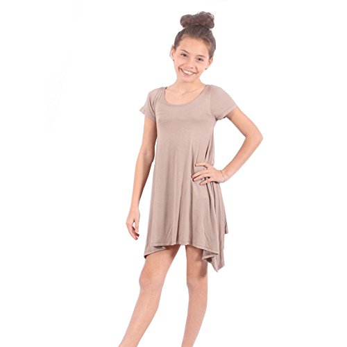 Lori&Jane Big Girls Tan Solid Color Short Sleeved Trendy Tunic Top 14 Big Kids Tan Apparel