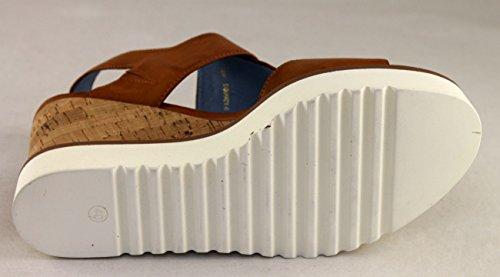 Santini Damen Schuhe Shoe Keil Plateau Sandaletten Leder 512 Cognac