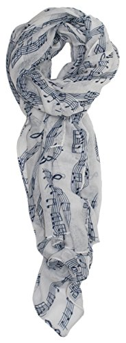 Ted and Jack - Sweet Symphony Allover Music Notes Scarf (White with Blue Notes) by Ted and Jack