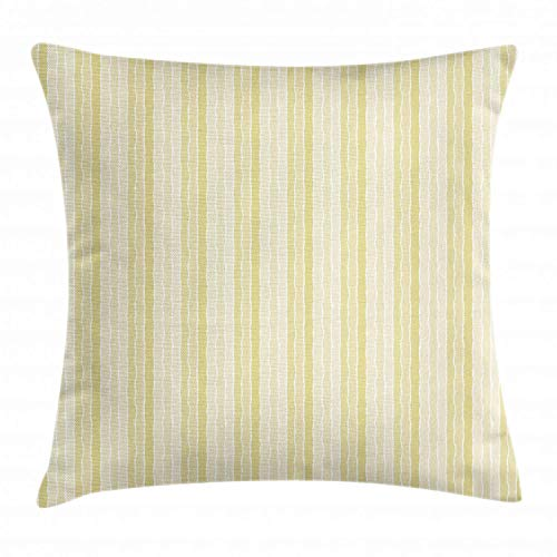 NBTJZT Pinstripe Throw Pillow Cushion Cover, Vertical Lines with Torn Paper Effect Shred Edge Background,Pillowcase 18X18 Inch, Pale Yellow Champagne and Ivory