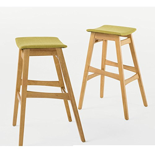 Mid Century Modern Wood Fabric Upholstered Seat Set of 2 Backless Barstool with Wood Legs - Includes Modhaus Living Pen (Green Tea in Natural Oak Finish) - Regency Set Bar Stool