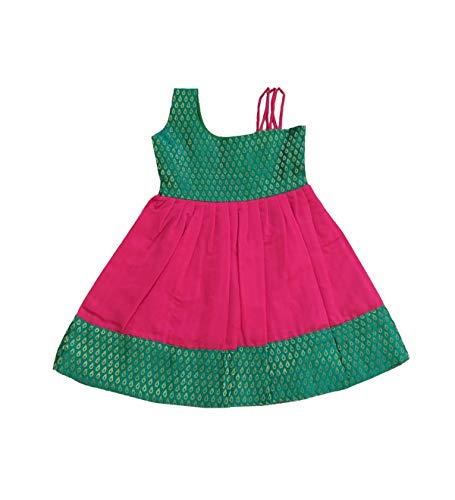 Pattu Pavadai Baby Girls Brocade Designer Frock (Pink and Green; 6 Months to 2 Years)