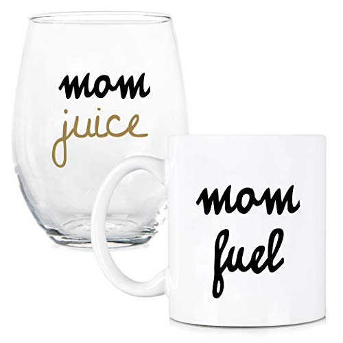 Mom Fuel, Mom Juice - 11 oz Coffee Mug and 15 oz Stemless Wine Glass Gift Set - Perfect Gift for Mom - Great Gift for Mother's Day