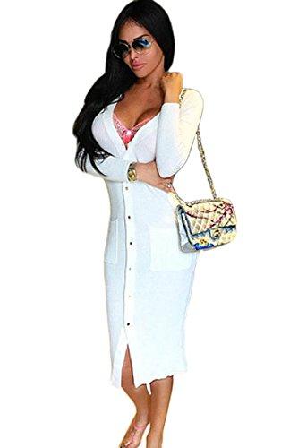 Nuevo de mujer crema botón frontal Jersey chaqueta vestido Jersey Vestido Oficina Vestido Casual noche partido
