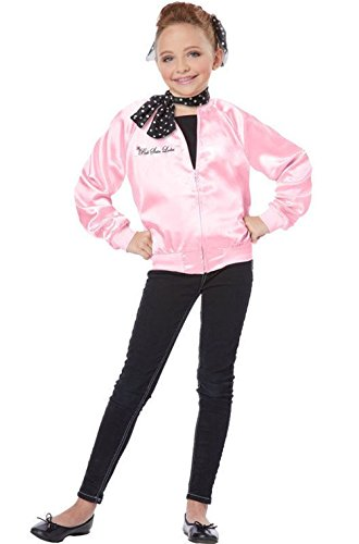 [Tdmall Girls 50's T-Bird Danny Pink Ladies Jacket Costume with Scarf] (Greaser Girl Outfits)