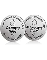 New Dad Mom Gifts Decision Coin,LucBuy Funny Newborn New Baby Gift New Parents Gift Pregnancy Gift for First Time Mummy Daddy,Baby Shower Mothers Fathers Day Christmas Birthday Thanksgiving Gift