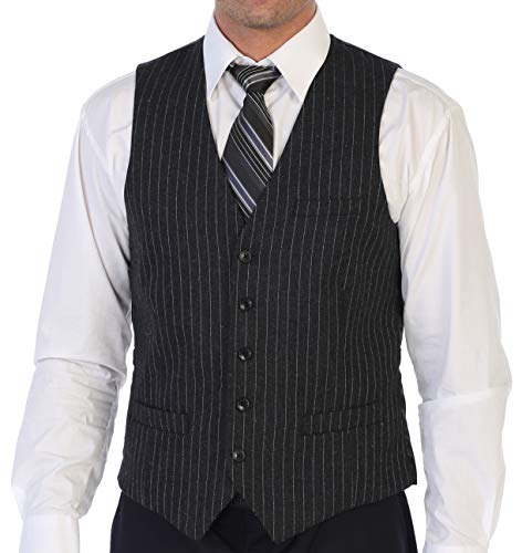 Gioberti Men's 5 Button Formal Tweed Pin Stripe Vest, Charcoal, X-Small