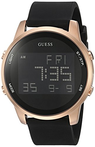 GUESS Men's U0787G2 Trendy Rose Gold-Tone Stainless Steel Watch with Digital Dial and Black Strap Buckle