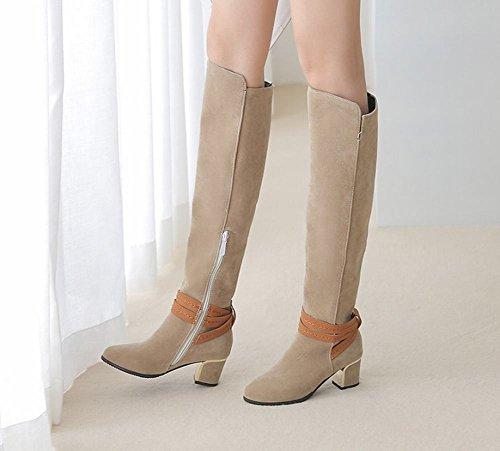 Carolbar Donna Taglie Forti Zip Retro Alti Stivali Alti Alti Tacco Medio Beige
