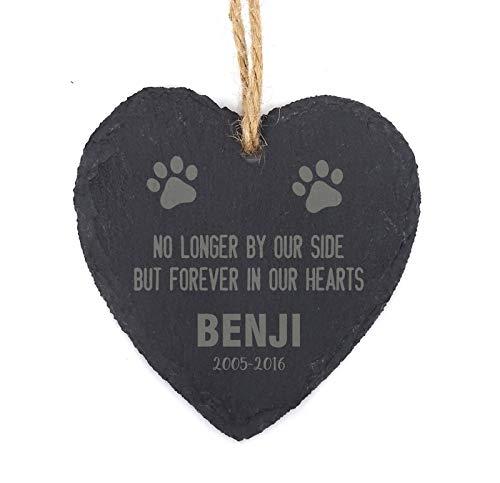 (Darling Souvenir MADE WITH LOVE PersonalizedHanging Benji Pet Memorial Paw Christmas Tree OrnamentEngraved Heart Slate Custom Gift)