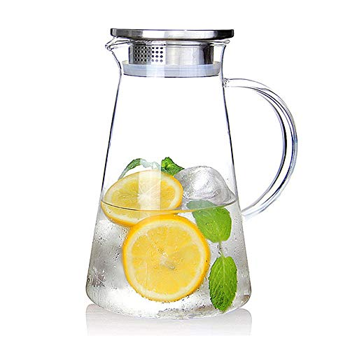 Suteas 2.0 Liter 68 Ounces Gallon jug hot Cold Water ice Tea Wine Coffee Milk and Juice Beverage Ca Glass Pitcher with lid Covered, Clear ()