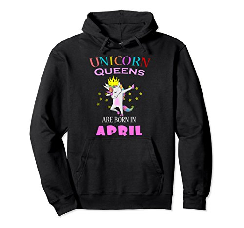 Unisex Unicorn Queens are born in April birthday Dabbing Hoodie 2XL Black