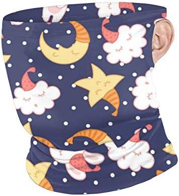 フェイスカバー Uvカット ネックガード 冷感 夏用 日焼け防止 飛沫防止 耳かけタイプ レディース メンズ Good Night Rabbit And Star
