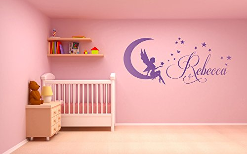 Fairy Personalized Wall Art (Personalized name, Fairy, Moon, Stars, Vinyl Wall Art Sticker, Mural, Decal. Home, Wall Decor, Children's bedroom, Nursery)