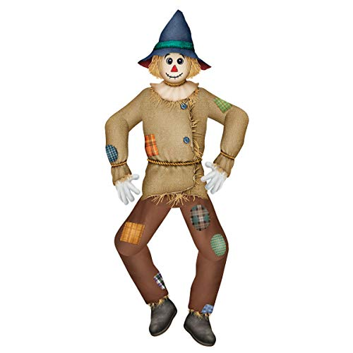 - TCDesignerProducts Jointed Tall Scarecrow Cutout Halloween and Fall Cardstock Decoration, 5 ft. Tall