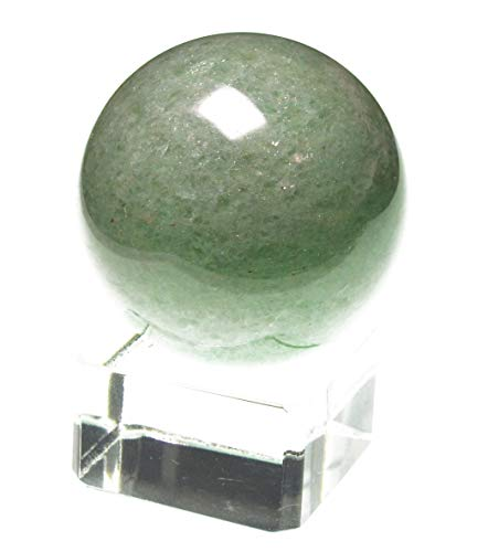 yippee 30~40mm White Crystal Quartz,Rose Pink Quartz,Tiger's Eye,Lapis Lazuli, Green Aventurine,Amethyst,Citrine,Black Obsidian Gem Stone Sphere- (1 Point) with Glass Stand (Green ()